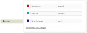 Labels Tags anlegen in Einstellungen zur Filiale